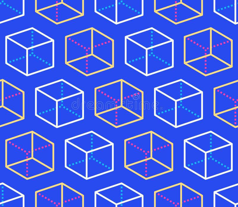 Sömlös modell för geometriska former med den plana linjen symboler av kubdiagramet Modern abstrakt färgrik bakgrund för geometri vektor illustrationer