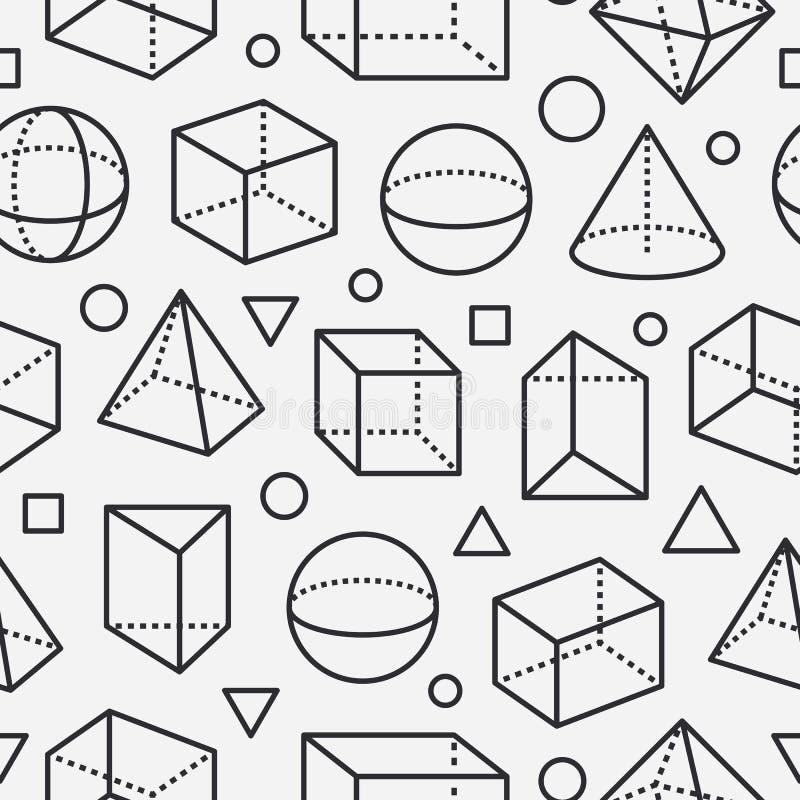 Sömlös modell för geometriska former med den plana linjen symboler Modern abstrakt bakgrund för geometri, matematikutbildning stock illustrationer