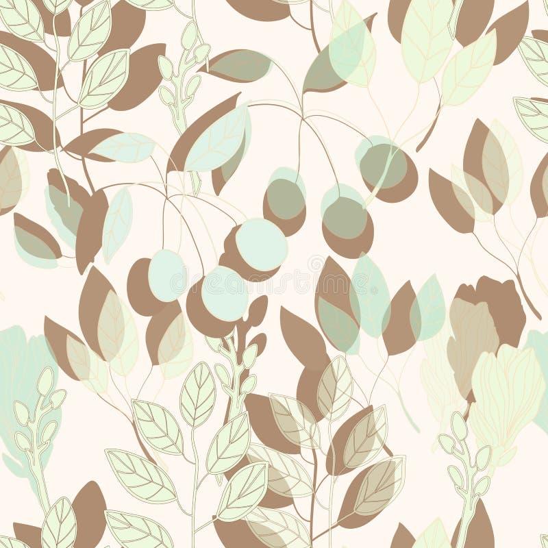 Sömlös modell för geometriskt botaniskt tryck i vektor stock illustrationer