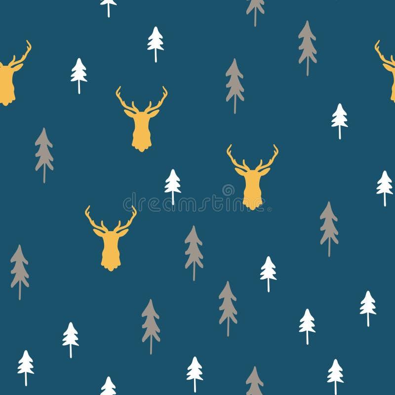 Sömlös modell för glad jul med enkel minimalist träd och renhuvudbakgrund stock illustrationer