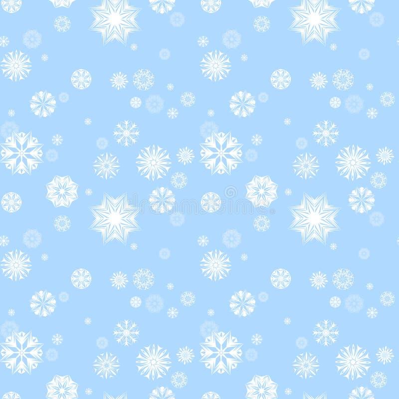 Sömlös modell för glad jul och för lyckligt nytt år med olika formsnöflingor på blå ljus bakgrund vektor illustrationer