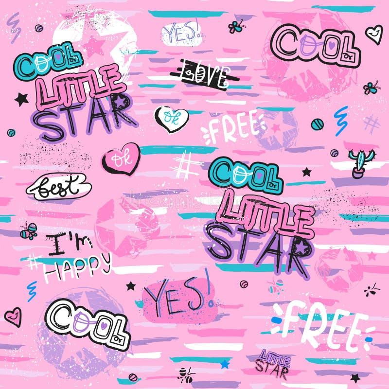 Sömlös modell för glamour med hjärta, klistermärkear, text, stjärnor Kall liten stjärna Flickaktigt tryck för kläder, textiler, i stock illustrationer