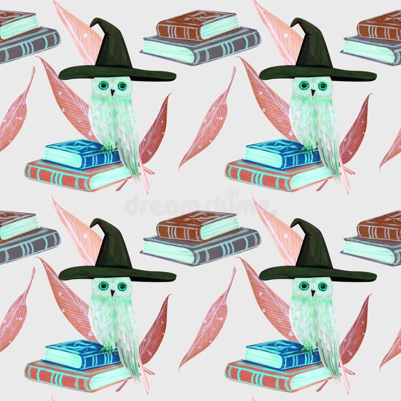 sömlös modell för gouache med den vita ugglan på magiska böcker royaltyfri illustrationer