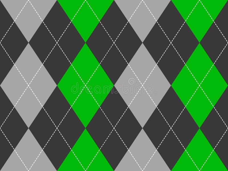 Sömlös modell för grön grå argyletygtextur stock illustrationer