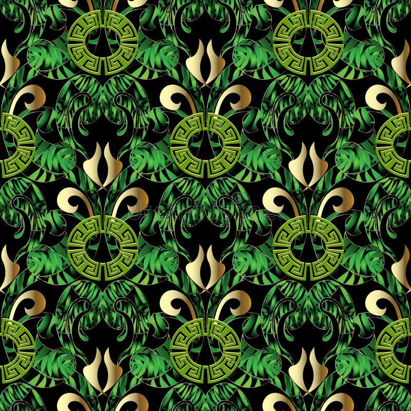 Sömlös modell för grön lövrik grekisk vektor Blom- abstrakt ornam stock illustrationer
