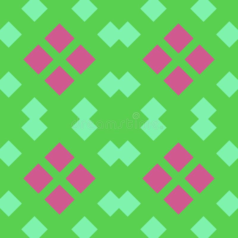 S?ml?s modell f?r gr?n rosa fyrkantig diamant royaltyfri illustrationer