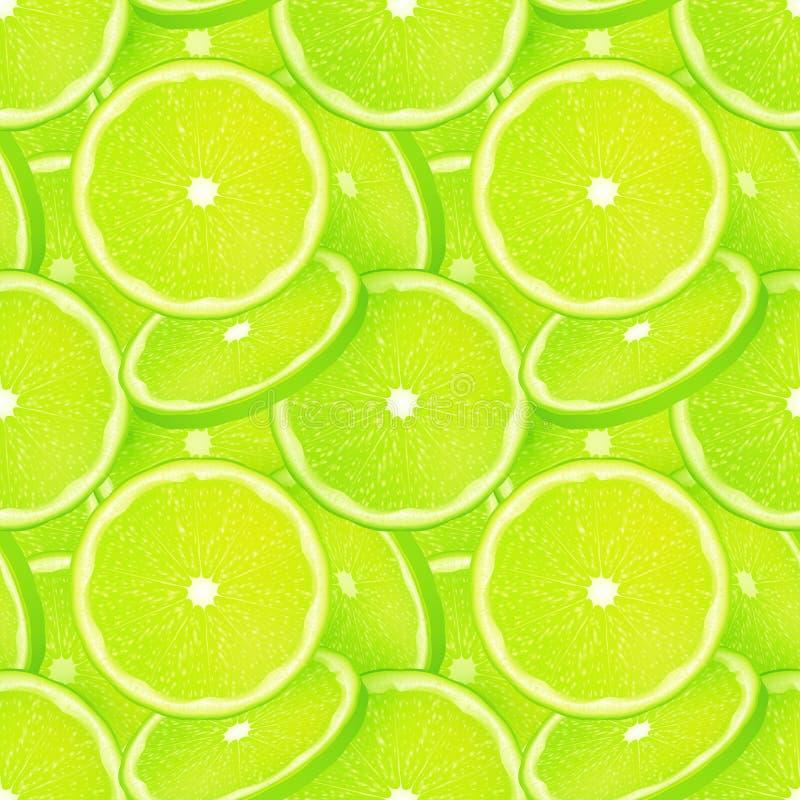 Sömlös modell för grön saftig limefruktskivavektor vektor illustrationer