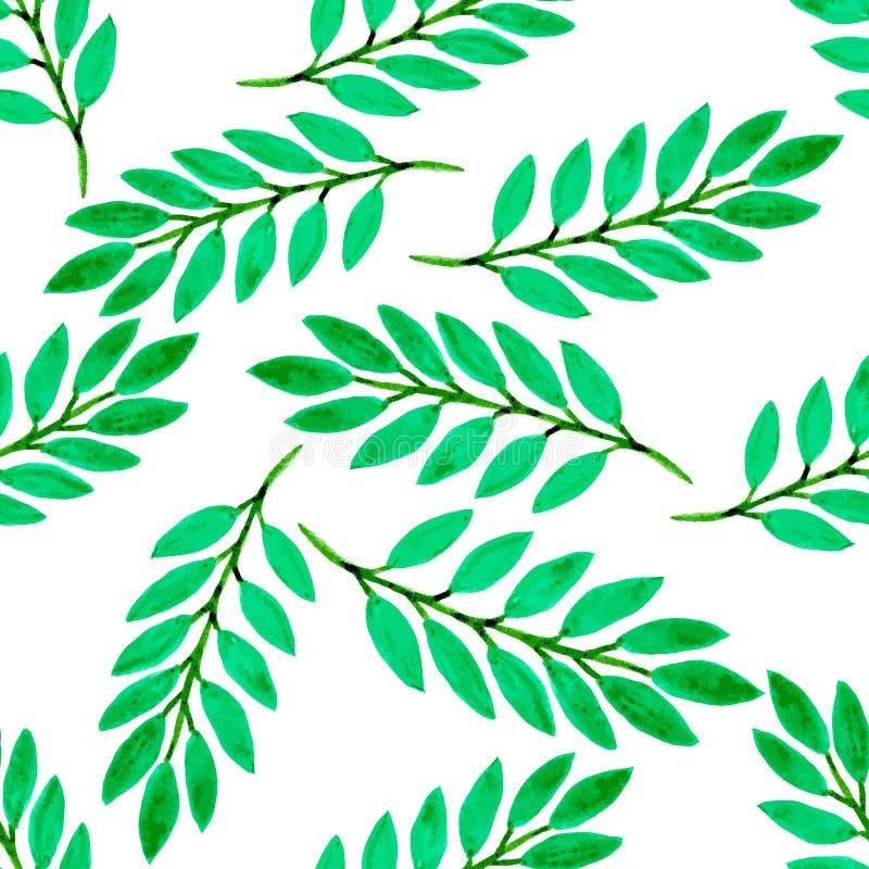 Sömlös modell för grön tropisk sidavattenfärg Vektortextur med handmålarfärg stock illustrationer