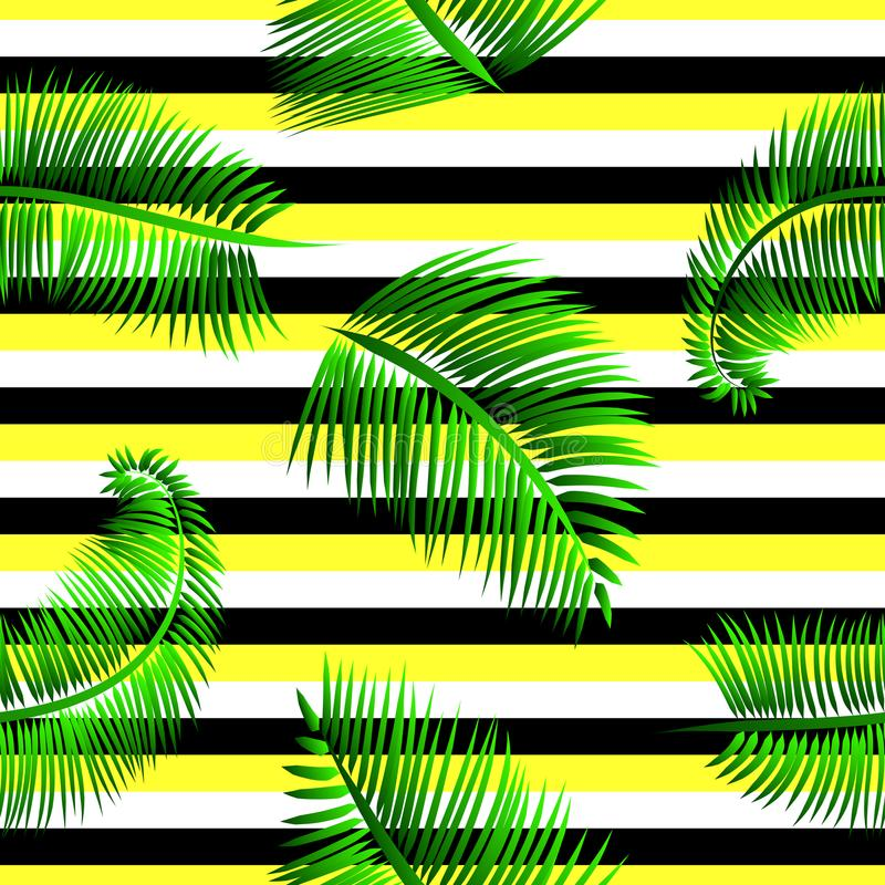 Sömlös modell för gröna palmblad, på guling, svartvit randig bakgrund stock illustrationer