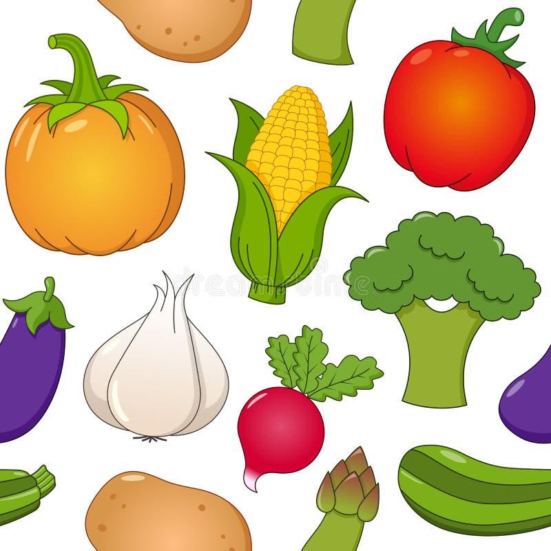 Sömlös modell för grönsaksymboler royaltyfri illustrationer