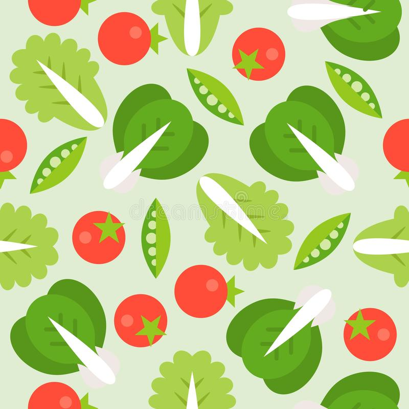 Sömlös modell för grönsallat-, tomat- och sojaböna, grönsaktema royaltyfri illustrationer