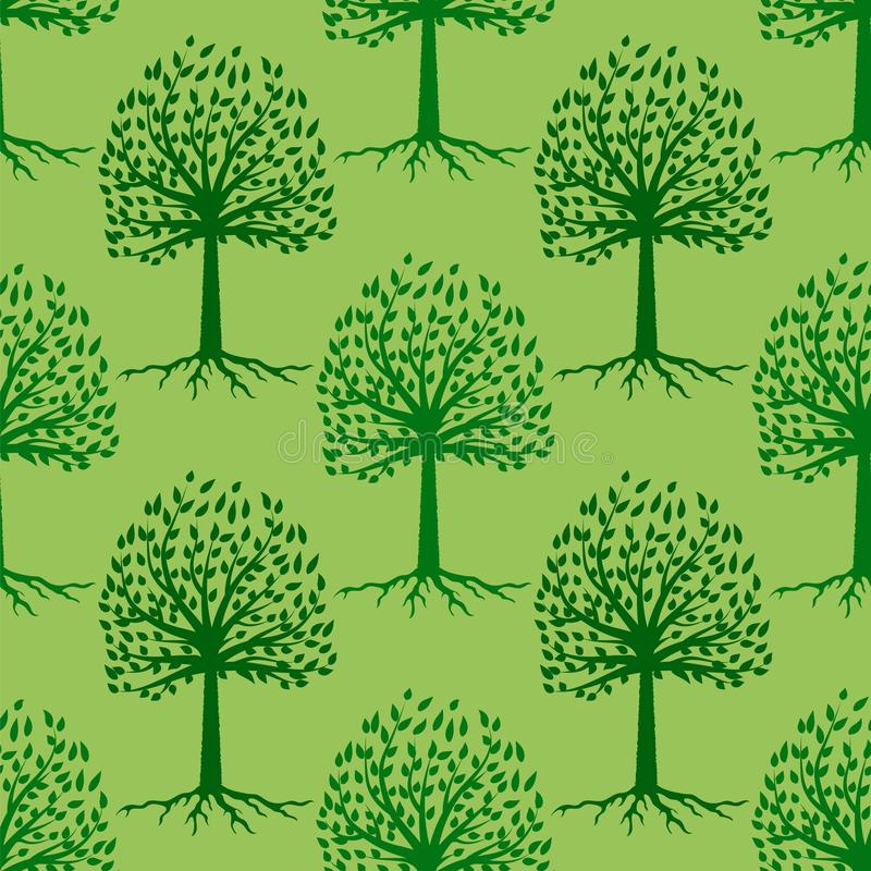 Sömlös modell för grönt träd bakgrund låter vara naturserie royaltyfri illustrationer