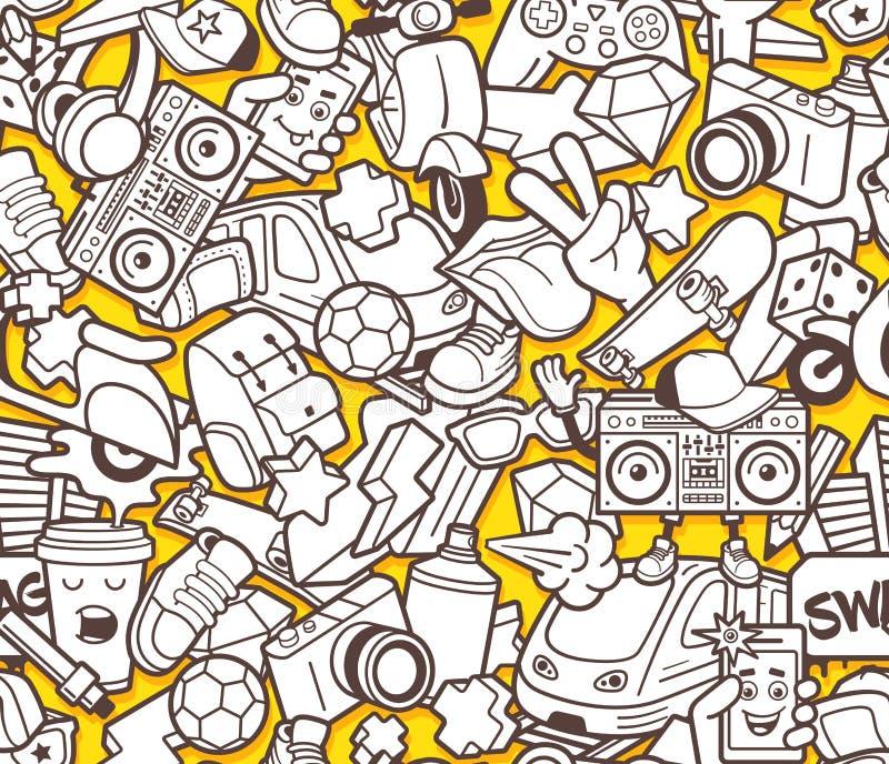 Sömlös modell för grafitti för vuxen färgläggningbok royaltyfri illustrationer