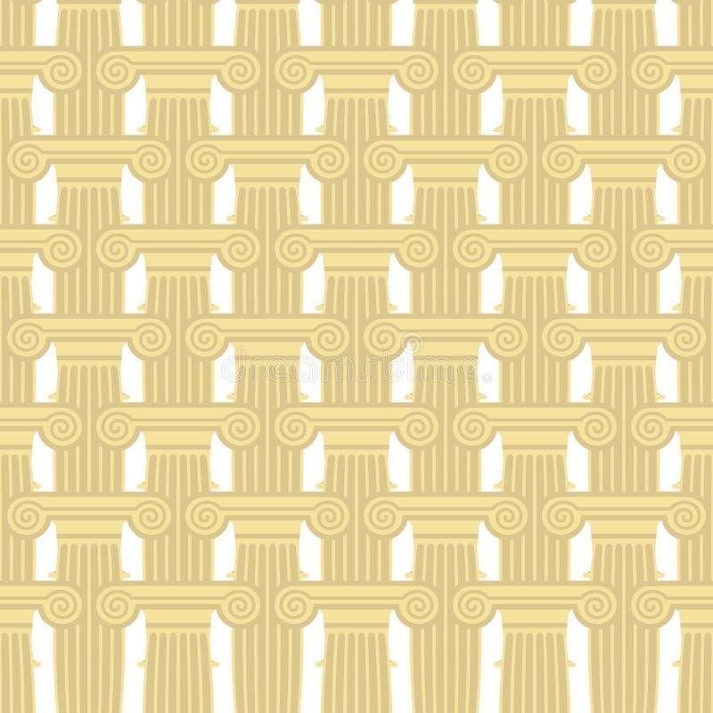 Sömlös modell för grekisk kolonn Vektorbakgrund av beståndsdelar av stock illustrationer