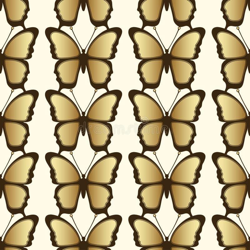 Sömlös modell för guld- fjäril Lyxig design, dyra smycken royaltyfri illustrationer