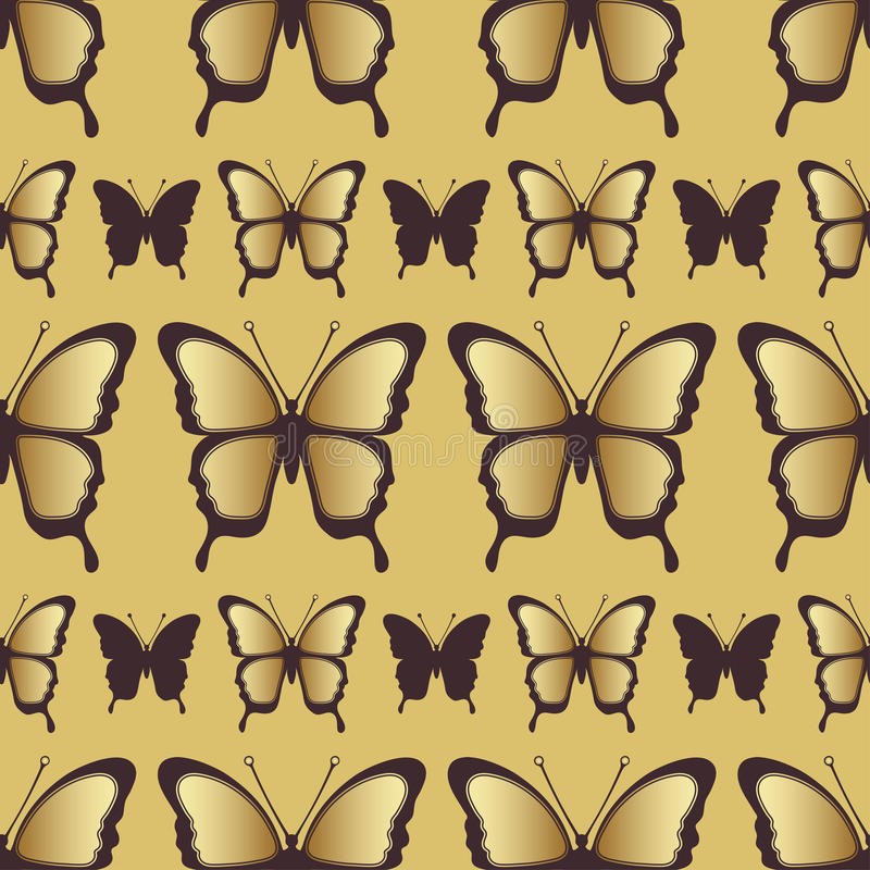 Sömlös modell för guld- fjäril Lyxig design, dyra smycken stock illustrationer