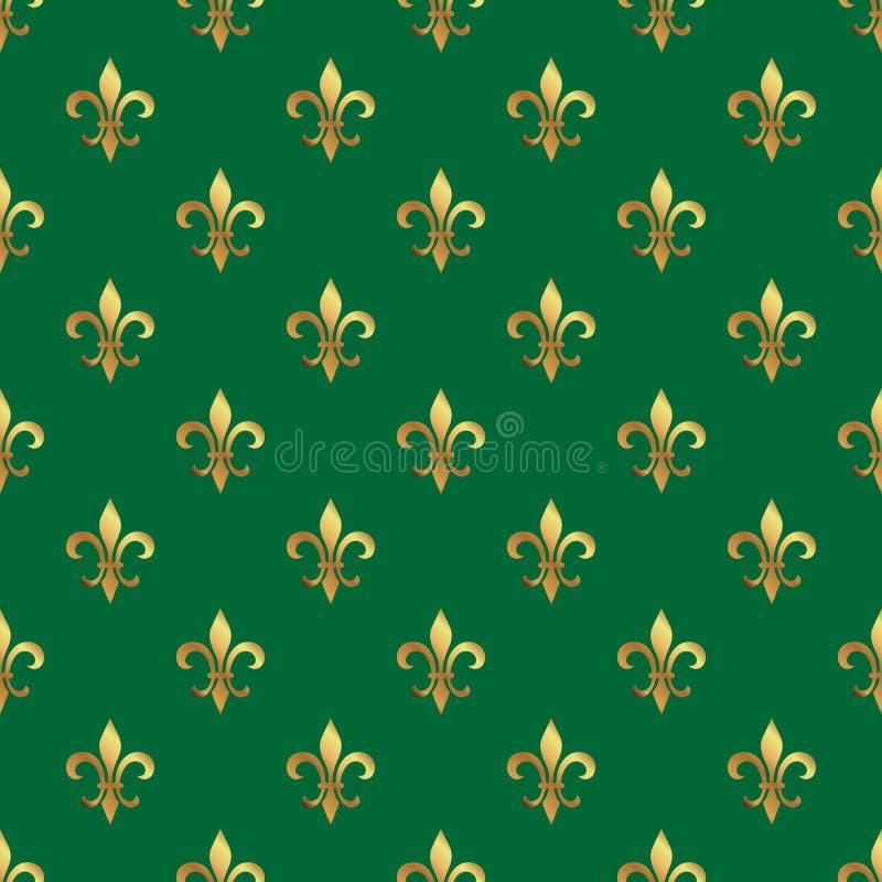 Sömlös modell för guld- fransk lilja Guld- mall Blom- klassisk textur Retro bakgrund Fleur de lis för kunglig lilja Designvint vektor illustrationer