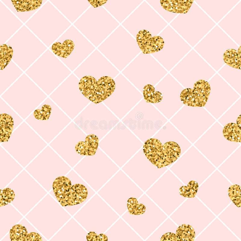 Sömlös modell för guld- hjärta Rosa färg-vit geometrisk garnering, guld- konfetti-hjärtor Symbol av förälskelse, valentindag vektor illustrationer