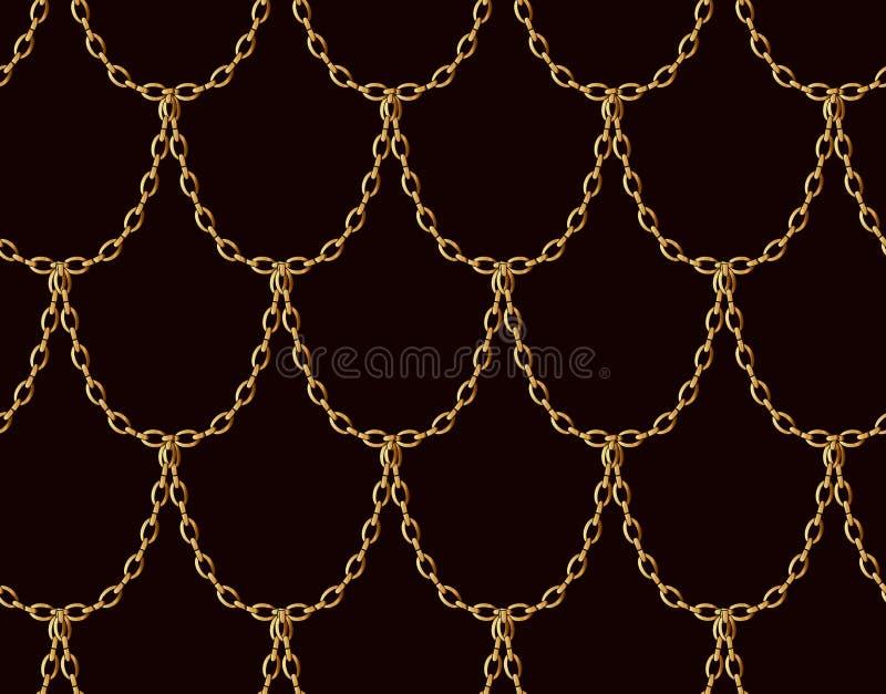 Sömlös modell för guld- kedja på choklad - brun bakgrund Guld- drakeskalakonst stock illustrationer