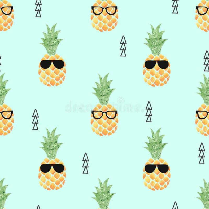 Sömlös modell för gullig ananas royaltyfri illustrationer
