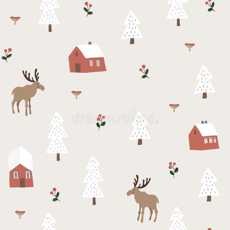Sömlös modell för gullig festlig jul med älgen, röda hus, snögranträd och bär Nordiska utdragna ungar för hand stock illustrationer