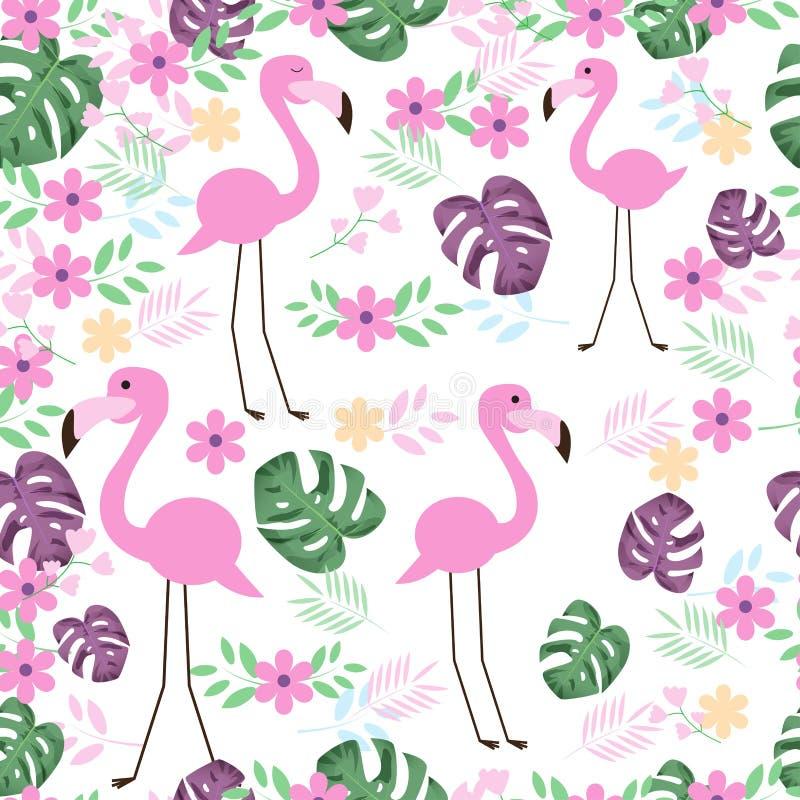 Sömlös modell för gullig flamingofågel med tropiska sidor vektor illustrationer