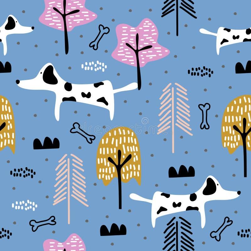 Sömlös modell för gullig hund som drar den djura illustrationen Moderiktig scandinavian konsttecknad filmbakgrund vektor illustrationer