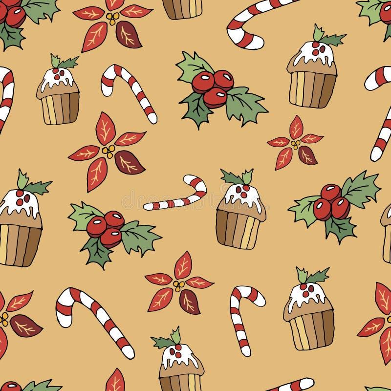 Sömlös modell för gullig jul i tecknad filmstil Klubba, muffin, krydda och bär Jul skrivar ut på en beige bakgrund royaltyfri illustrationer