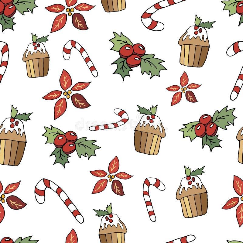 Sömlös modell för gullig jul i tecknad filmstil Klubba, muffin, krydda och bär Jul skrivar ut på en vit bakgrund stock illustrationer