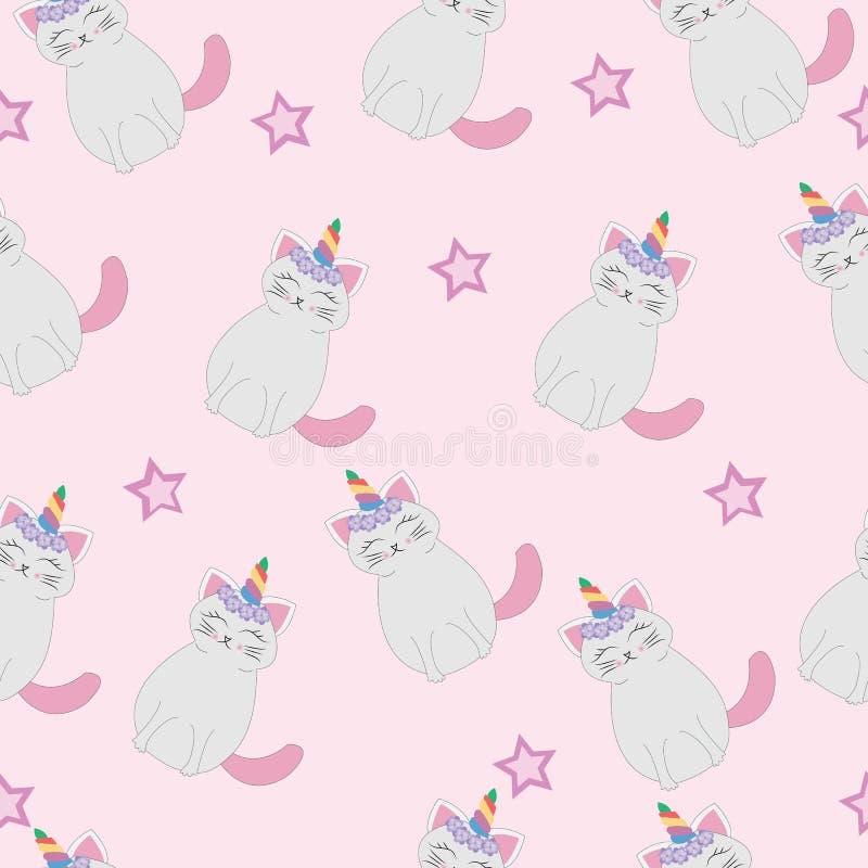 Sömlös modell för gullig kattenhörning stock illustrationer