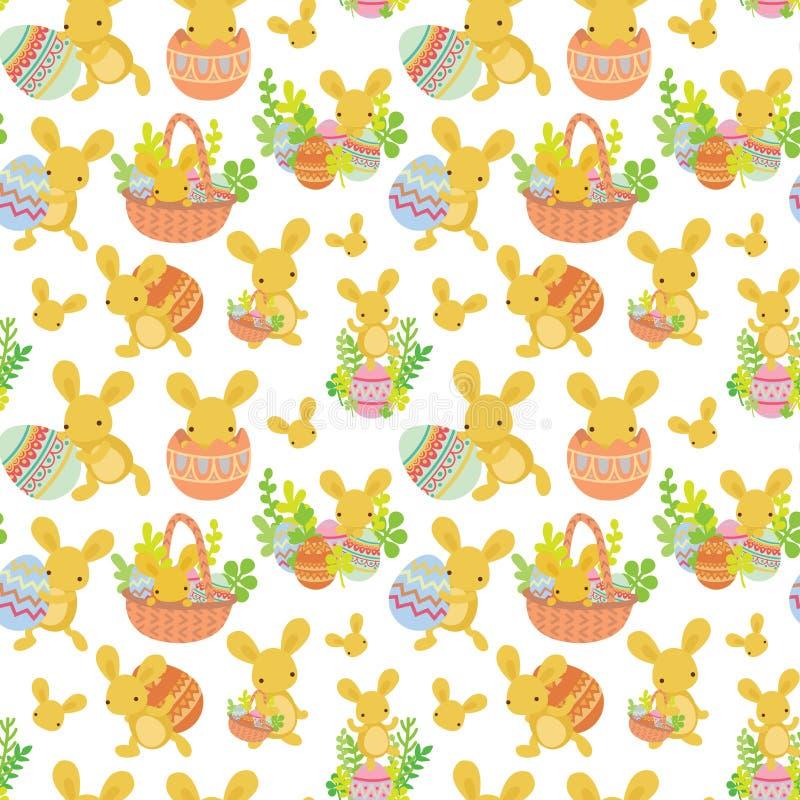 Sömlös modell för gullig påsk av kanin med ägg vektor illustrationer