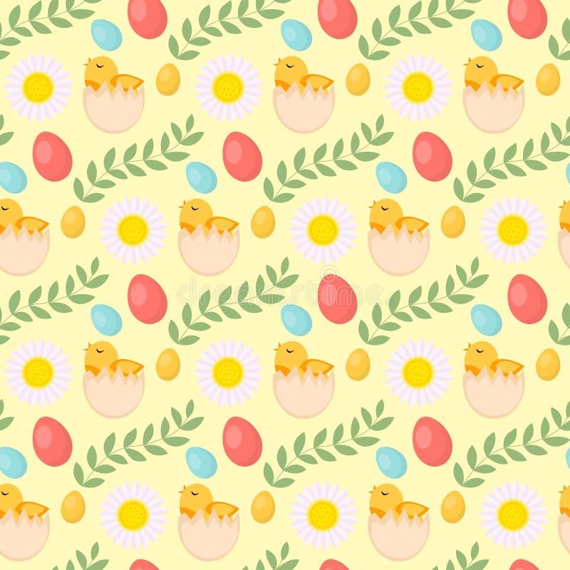 Sömlös modell för gullig påsk med fågelungen, ägg och blommor, ändlös bakgrund Feriebakgrund, textur, digitalt papper royaltyfri illustrationer