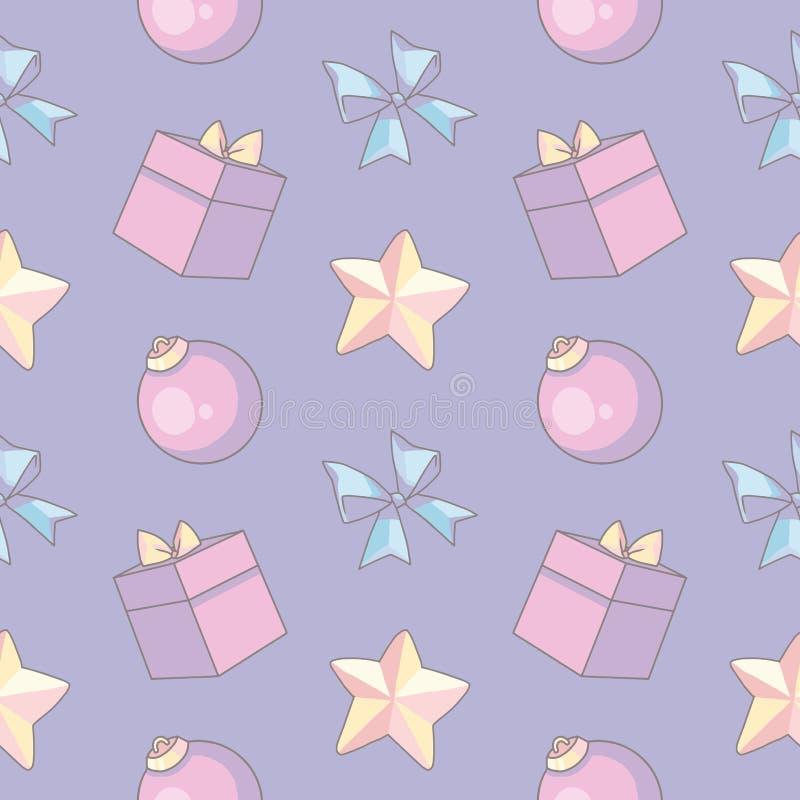 Sömlös modell för gullig pastellfärgad tecknad filmstiljul med rosa gåvaaskar, trädstruntsaker och guld- stjärnor på ljus - purpu vektor illustrationer
