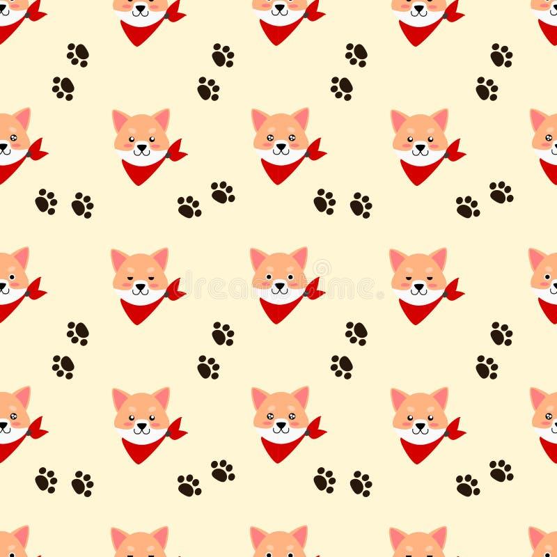Sömlös modell för gullig Shiba hund royaltyfri illustrationer