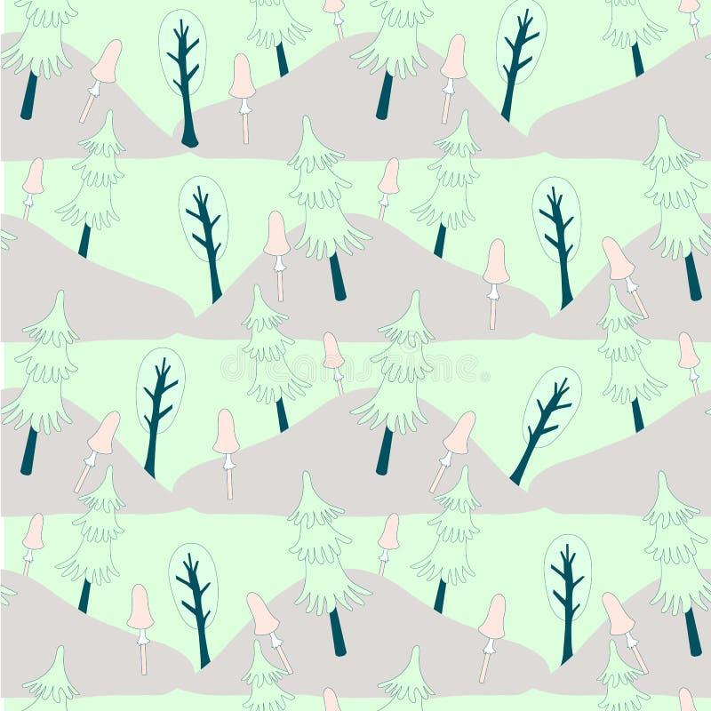 Sömlös modell för gullig skog Pastellfärgtecknade filmer planlägger det gröna trädet, granträdet, rosa champinjon vektor illustrationer