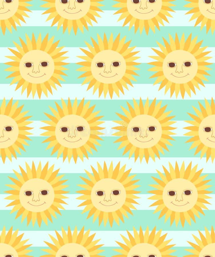 Sömlös modell för gullig sol för tecknad filmtecken på randig bakgrund stock illustrationer
