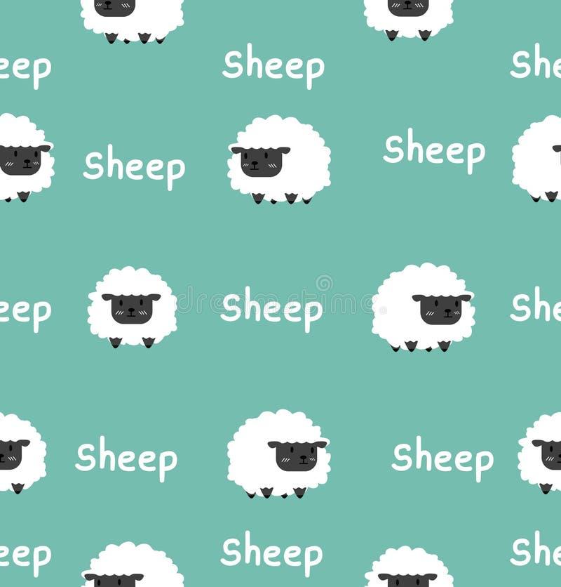 Sömlös modell för gullig svart liten fårvektor vektor illustrationer
