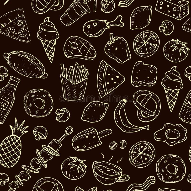 Sömlös modell för gullig tecknad film med mat på en neutral bakgrund royaltyfri illustrationer