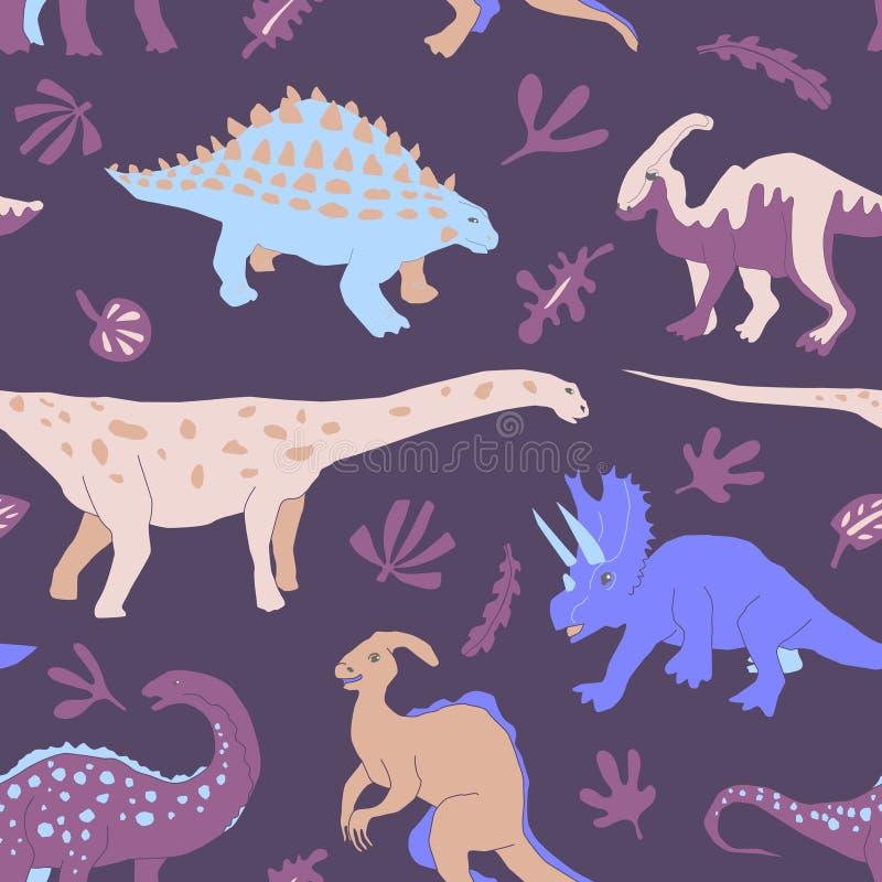 Sömlös modell för gullig växtätande dinosaurie vektor illustrationer