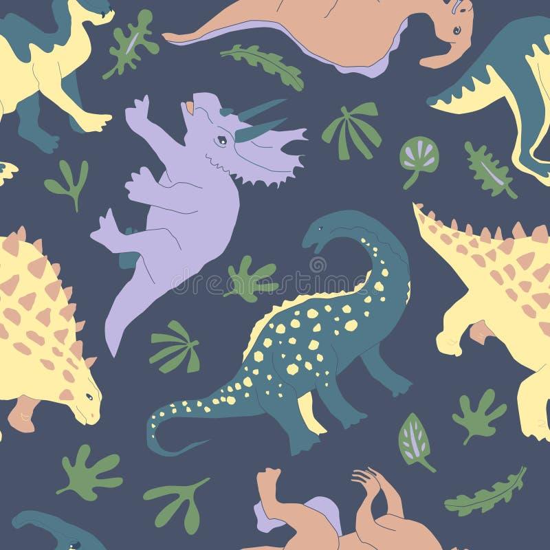 Sömlös modell för gullig växtätande dinosaurie stock illustrationer