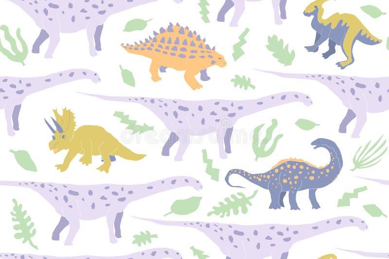 Sömlös modell för gullig växtätande dinosaurie royaltyfri illustrationer