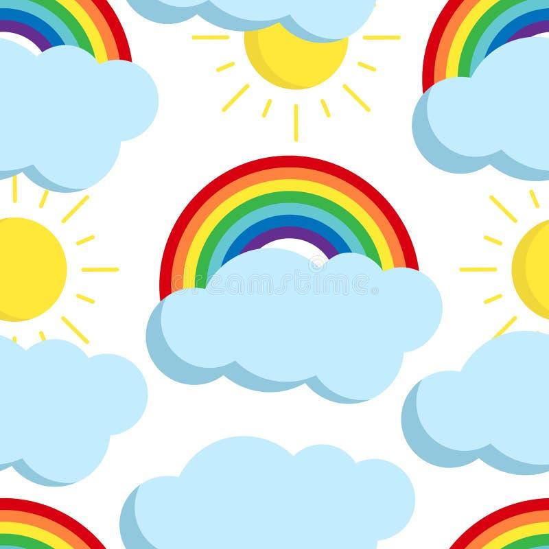 Sömlös modell för gullig vektorregnbåge med vädersymboler royaltyfri illustrationer