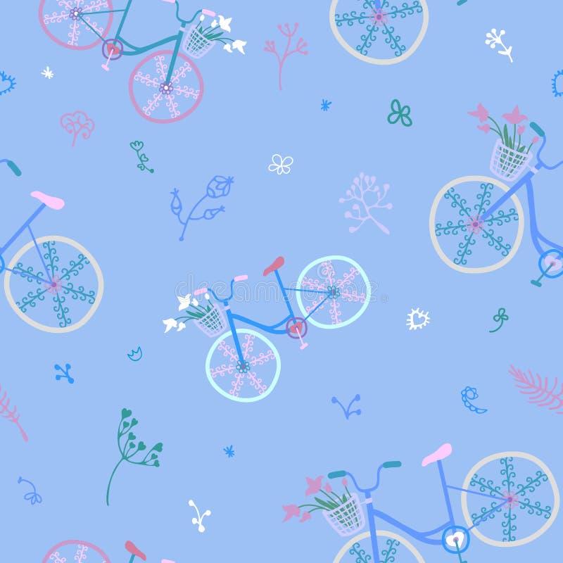 Sömlös modell för gulliga färgrika härliga cyklar med dekorativa hjul och blommor stock illustrationer