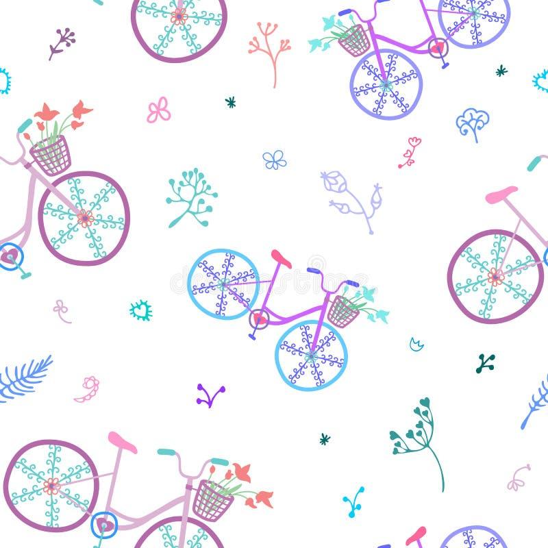 Sömlös modell för gulliga färgrika härliga cyklar med dekorativa hjul och blommor vektor illustrationer