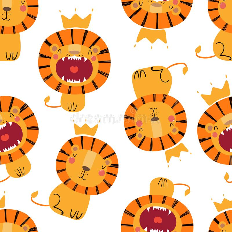 Sömlös modell för gulliga lejon stock illustrationer