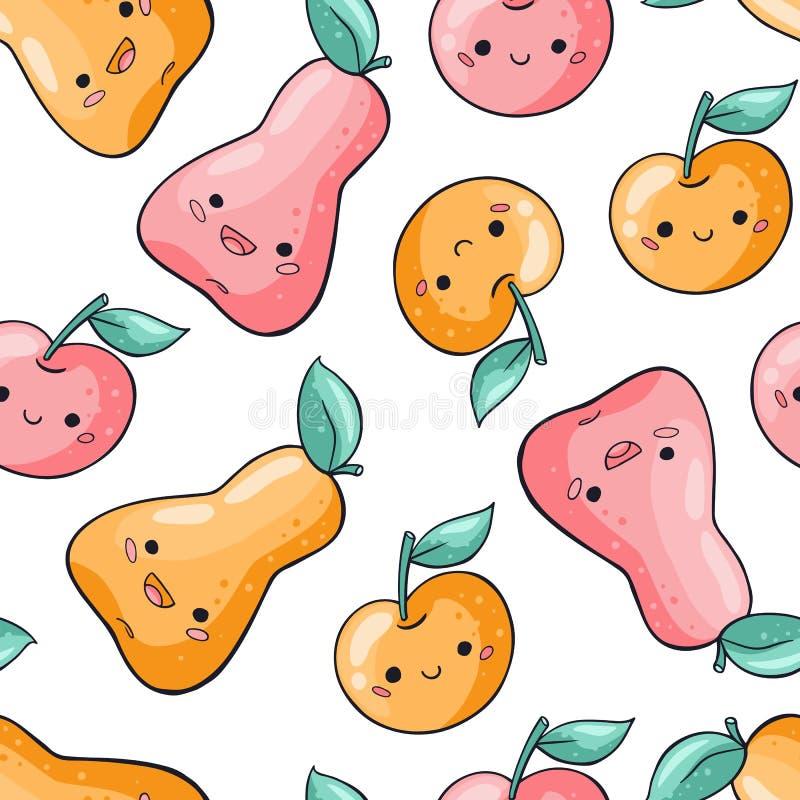 Sömlös modell för gulliga tecknad filmfrukter på vit bakgrund S?ml?s modell f?r sund mat i klotterstil Kawaii päron royaltyfri illustrationer