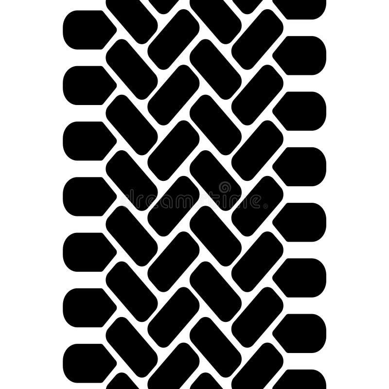 sömlös modell för gummihjuldäckmönsterspår, vektor royaltyfri illustrationer