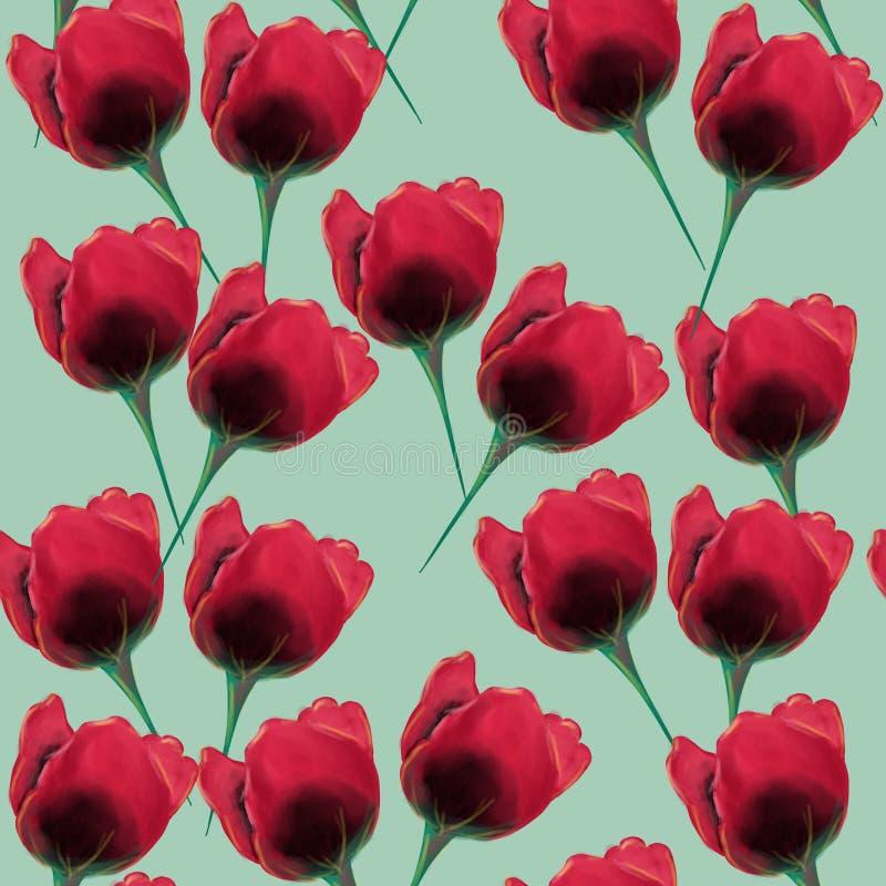 Sömlös modell för härlig och färgrik tulpan blomma vektor illustrationer