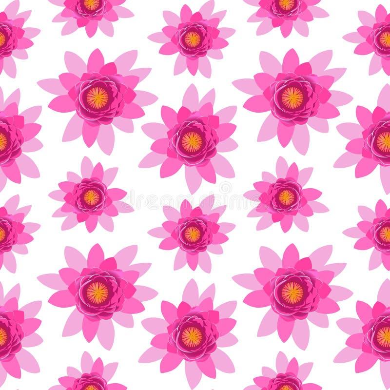 Sömlös modell för härlig rosa blomning för lotusblommablomma som isoleras på vit bakgrund stock illustrationer