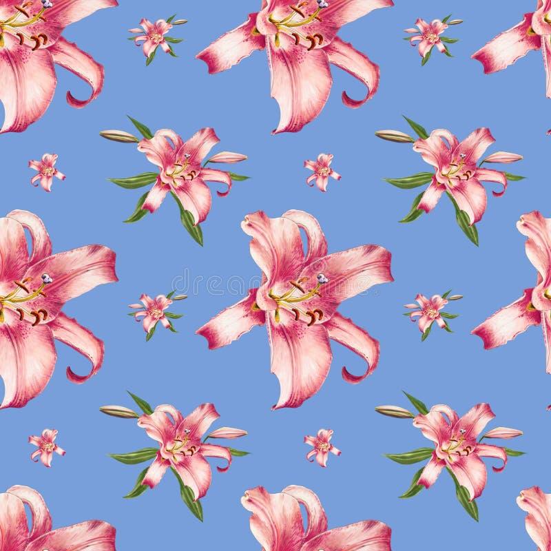 Sömlös modell för härlig rosa lilja Bukett av blommor Blom- tryck Mark?rteckning royaltyfri illustrationer